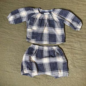 BOY + GIRL Flannel Check Baby Bloomer Set, 6m